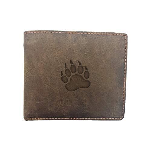 Animal Grizzly Bear Paw Print (Milk Chocolate) Engraved - - Premium Full Grain Leather Bi Fold Wallet - Card Holder, Money Clip - Unisex, Men, Women - Handmade With Traditional Craftsmanship