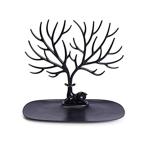 KOLOSM Soporte para pendientes con cabeza de ciervo, soporte de exhibición de joyas, collar y pendientes para mujer (color: negro)