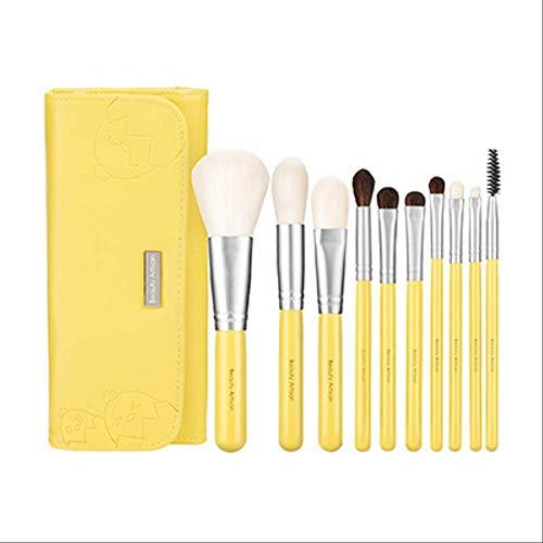 Set De Maquillage Brosse 10 Pièces Portable Brosse Poils D'Animaux Avec Emballage Brosse Fard À Paupières Fondation Brosse D-001 Jaune
