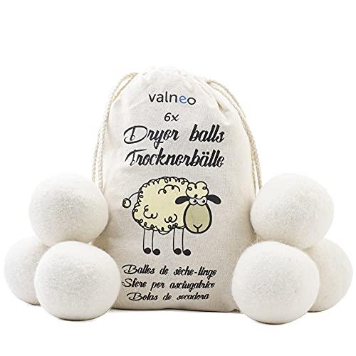 VALNEO 6 Trocknerbälle für Wäschetrockner aus 100% natürlicher Schafwolle - öko Wäscheball - Dryer Balls als Weichspüler für Ihren Trockner geeignet