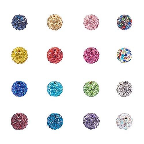 NBEADS 100 Pcs 10mm Disco Ball Beads Crystal Rhinestone Beads Bracelet Charms for Jewelry Making