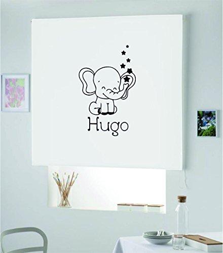 PERSIANA Estor Infantil Personalizado con Nombre Elefante Hugo (140X175, Blanco)