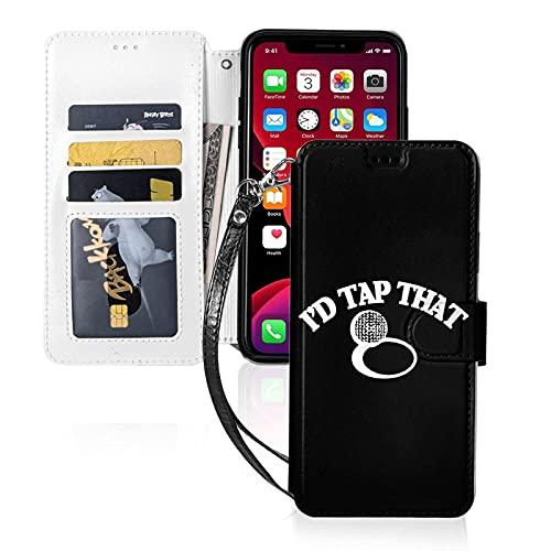Custodia per telefono LINGF,I'd Tap That Case per iPhone 11 Custodia carina per donna Custodia in pelle a portafoglio con custodia protettiva per cinturino