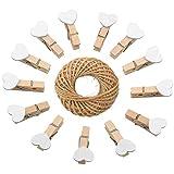 jijAcraft 100 Pezzi Mini Mollette di Legno Mollettine Decorative per Foto Matrimonio Artigianato con 30M Spago di Iuta (Bianco)