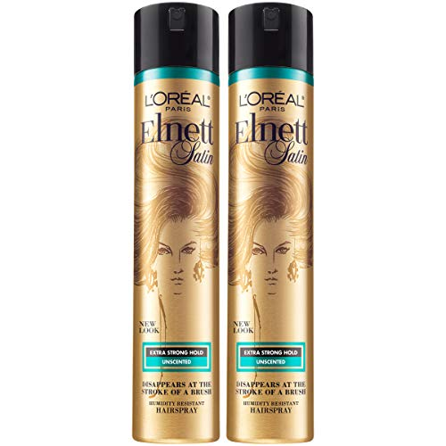 L'Oreal Paris Hair Care Elnett Satin Extra Strong Hold Hairspray - Unscented, Long Lasting + Humidity Resistant, Hair Styling Spray, 11 Ounce (2 Count)