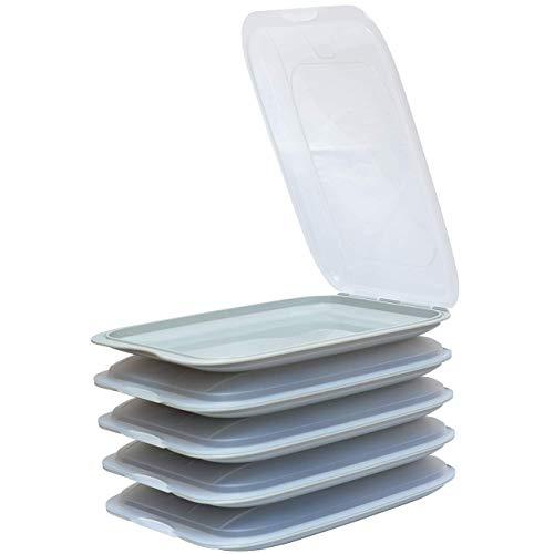 5X stapelbare Aufschnittbox Frischhalte-Dose Wurst Käse Behälter Aufschnitt-Dose Farbe grau