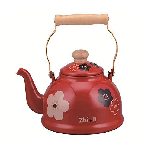 SGSG CWC Whistle Tea Kettle para Estufa, 2.5L Tetera de Esmalte Floral roja con Mango de Madera Esmalte Melody Whistle Pot 2.5L