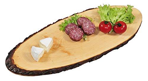 Kesper 2 Stück Rinden-Servierbrett aus Erlenholz, Brotzeitbrett, Jausenbrett in Größe L, ca. L50 bis L59 x B20 x T1,8 cm, natürliche Optik