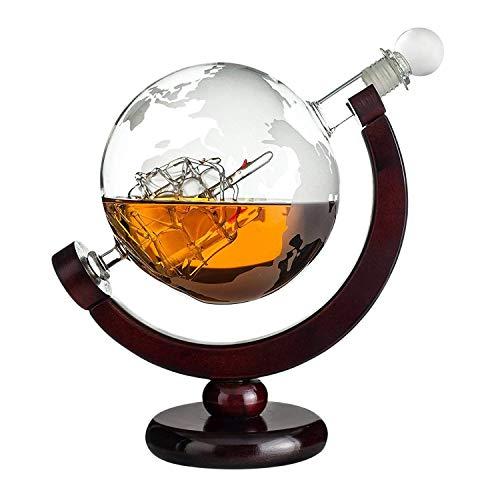 Whiskykaraffe Globus: gravierte Glas Karaffe mit Segelschiff im Inneren und Weltkarte – Dekanter Flasche 850 ml – Geschenke für Männer mit Gravur