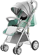 ZHHAOXINSP Ajustable Silla de Paseo Calesa Plegable, Carrito de Bebé Plegable Anti Choque Vista Alta Carro Infantil, Cinturón de Seguridad de Cinco Puntos para Bebe, Green