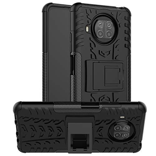 JZ Capa de design com padrão de pneu para Xiaomi Mi 10T Lite 5G / Mi 10i 5G / Redmi Note 9 Pro 5G com [Suporte] Capa traseira à prova de choque e arranhões - Preta