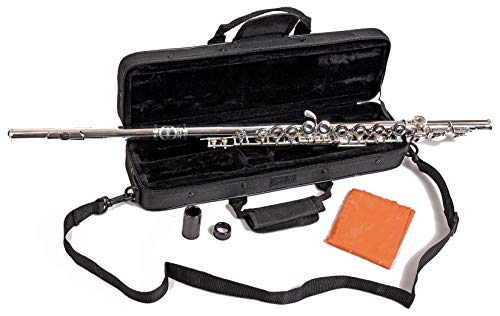New! Herche Superior Flute M2 Upgraded!   Professional Grade Musical Instruments for All Levels   Silver Plated   Complete Set, Shoulder Carry Case, Cleaning Rod, Tenon protectors, Service Plan
