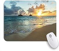 ECOMAOMI 可愛いマウスパッド 華やかなサンセットビーチ 滑り止めゴムバッキングマウスパッドノートブックコンピュータマウスマット
