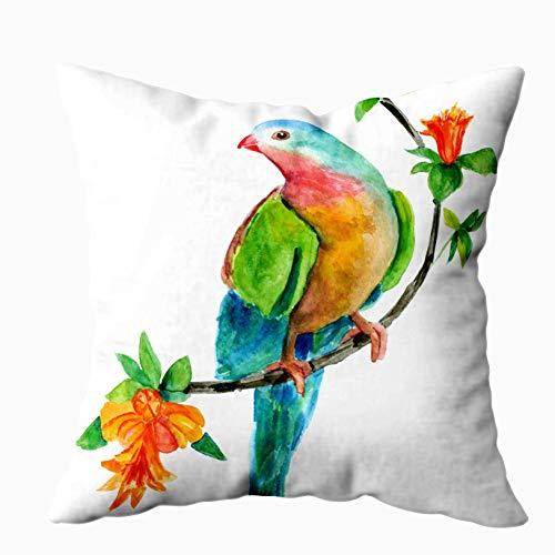N\A Fundas de Color Naranja, un Dibujo de Acuarela Hermoso Estilo Vintage Teal Bird Sentado Rama Granate Frutas, Fundas de Almohada, Cojín Suave para el hogar Sofá Fundas de Almohada Decorativas