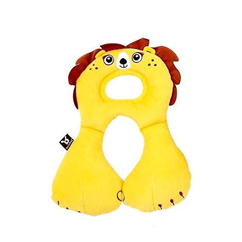 Cojín para automóvil - niños - soporte para el cuello - reposacabezas suave - viaje - avión - autobús - automóvil - tren - doméstico - modelo de león amarillo para navidad