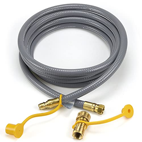 Beaquicy 12 Feet Natural Gas Hose with 3/8 inch Natural Gas Quick Disconnect Kit Compatible for Gas Grill, Griddle, Smoker, Fire Pit, Pizza Oven, Generator, Outdoor Heater and More NG Appliance.
