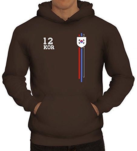 ShirtStreet Soccer World Cup Fussball WM Fanfest Gruppen Herren Hoodie Männer Kapuzenpullover Streifen Trikot Korea, Größe: 3XL,braun