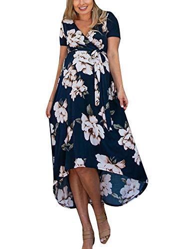 Eghunooye Sommerkleid für Umstand Damen Blumendruck Schwangerschaftskleider V-Ausschnitt Kurzarm Umstandskleid Maternity Kleider Wickelkleid Dress Party Casual Mutterschafts Kleider (Blau, XL)