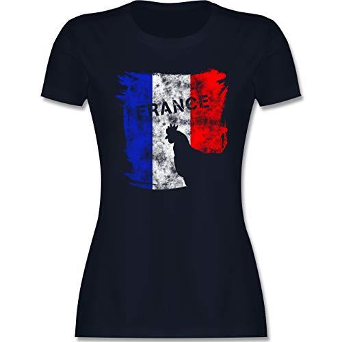 Fussball EM 2021 Fanartikel - France mit Hahn Vintage - XXL - Navy Blau - Spruch - L191 - Tailliertes Tshirt für Damen und Frauen T-Shirt