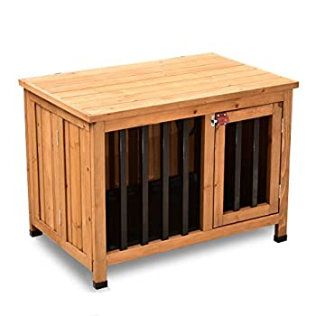 Lovupet No Assembly Wooden Portable Foldable Pet Crate Indoor Outdoor Dog Kennel Pet Cage with Tray 6012-0651 28.1  L x 18.5  W x 20.5  H