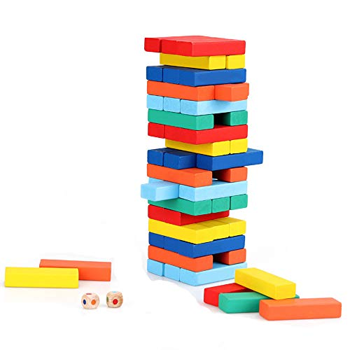 JIYUAN Wooden Blocks Tumbling Tower Block Toys Traditional Outdoor Family Tower Board Games For Kids Adults (51pcs) color