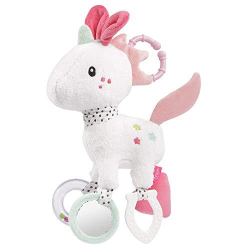 Fehn 057096 - Unicornio de actividad, juguete de motricidad para colgar con emocionantes colgantes para agarrar y producir sonido, para bebés y niños pequeños a partir de 0 meses