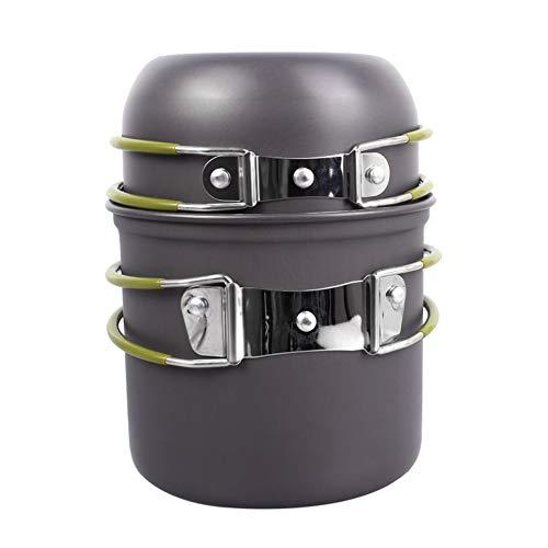 HBRT Kit de Cuisine de Camping, Pot léger portatif extérieur 1-2 Personnes pour la randonnée en Plein air Bbqbbqs Pique-Nique Campers