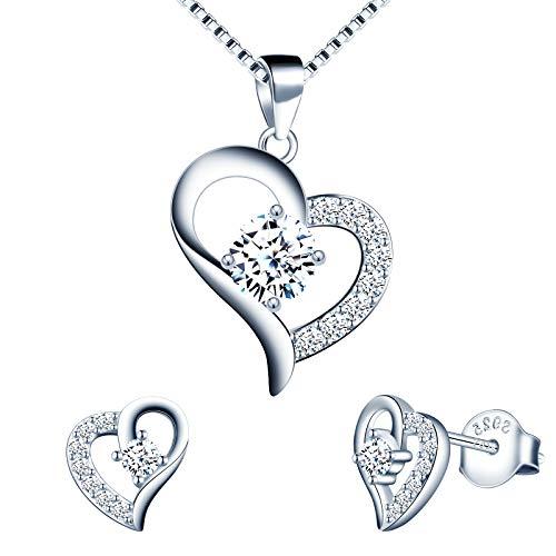 Yumilok Conjunto de collar y pendientes, collar con colgante de corazón de diamantes, arete de plata 925 con corazón brillante para mujer niña, collar y pendientes, circonita con incrustaciones