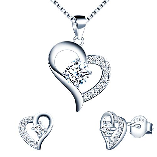 Yumilok Silver Jewellery Set for Women, 925 Sterling Silver Heart Stud Earrings & 45cm Necklace Pendant Set, with White AAA Cubic Zirconia, Allergy Free Jewellery for Mother Wife Girlfriend