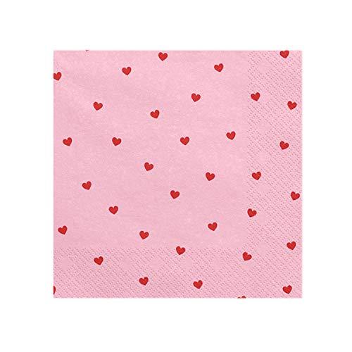 PartyDeco 20 Serviettes Roses avec cœurs Roses - Valentine Collection