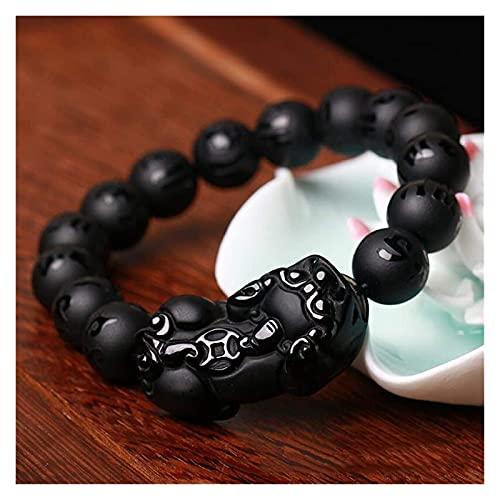 XIAOGING Feng Shui Pulsera de la Riqueza Obsidian Pixiu/Piyao Amuleto Pulsera Prosperidad Atraer la Buena Suerte Money Love Heart Sutra Buddha Beads Jade Bangle Regalo para Hombres/Mujeres, 10mm