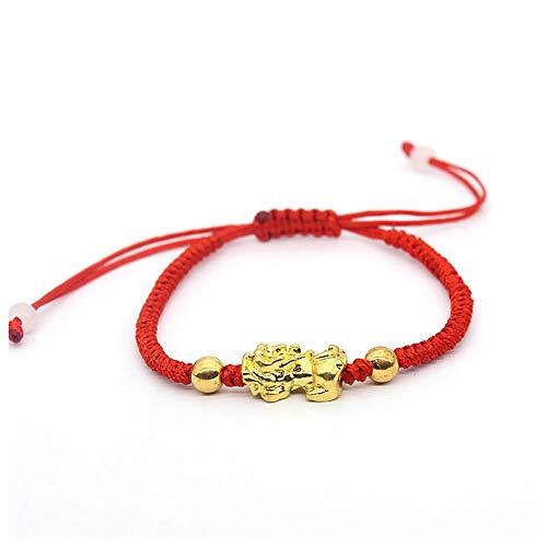 Lllunimon Feng Shui Chino de Oro Pi Xiu Pulsera Kabbalah Hilo Rojo Protección de Mal de Ojo Pulsera para Hombres de Las Mujeres