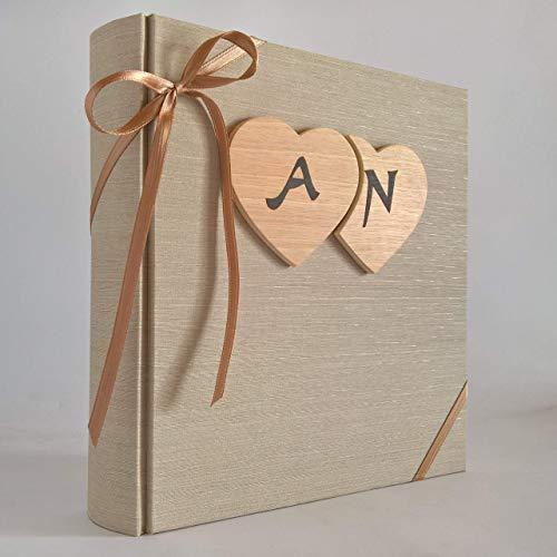 Album fotografico innamorati in tela di lino + cuori legno e iniziali personalizzabili WEDDING- SAN VALENTINO- ANNIVERSARIO