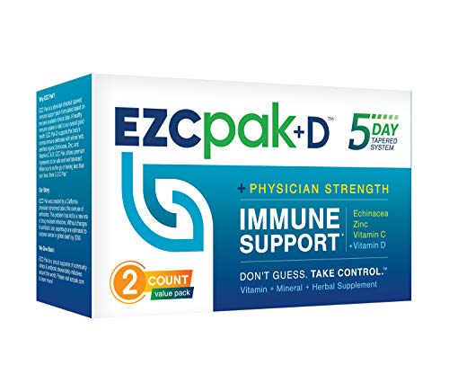 EZC Pak-D 5-Day Immune Booster for Cold and Flu Relief (2 Pack) -...