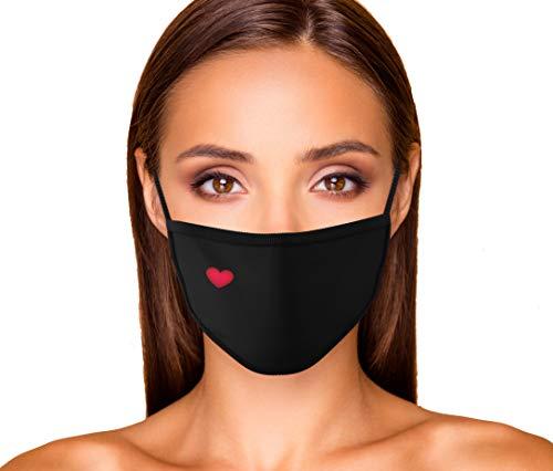 Dilara Baumwollmaske mit Herzchen Motiv für Damen stylisch und wiederverwendbar - Maske mit Herz Motiv modisch und stylisch Frauen, Mädchen (Herzchen)