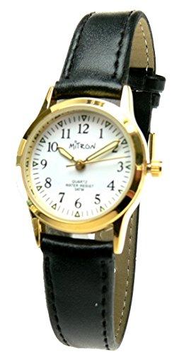 Mitron Damenuhr goldfarbend mit schwarzem Band / 62980