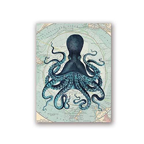 Kraken Octopus Tentacles Vintage Poster Drucke Nautischen Küste Wandkunst Bild Antarktis Karte Leinwand Malerei Home Wand Decor-40x60 cm Kein Rahmen