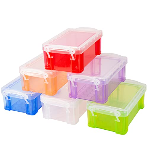 testyu Small Plastic Box, 4.9' X 2.9' X 2' Stackable Mini Plastic Storage Box with Lid, Clear Plastic Organizer Container for Jewelry Beads Small Crafts Items Accessories - 6 Pack
