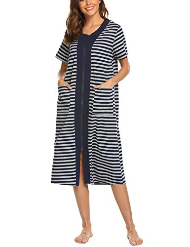 Ekouaer Short Kimono Robe Sleepwear Cotton Bathrobe For Women,Navy,Medium