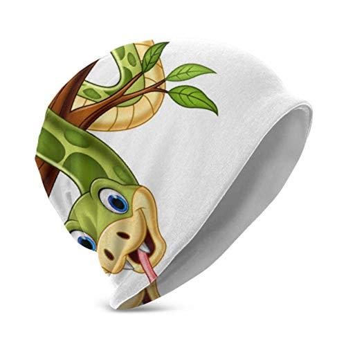 Unisex Beanie Hat Cálido y Acogedor Dibujos Animados Serpiente Verde en Rama de árbol Vector 3D Moda para niños Beanie Caps Adecuado para niños de 3 a 15 años