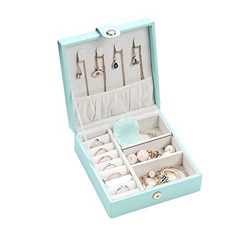 Organizador de caja de joyería, pequeña caja de almacenamiento de joyería de viaje, soporte de joyería de cuero de PU Bandeja de exhibición para anillo, pendientes, collar, pulsera, brazalete, reloj