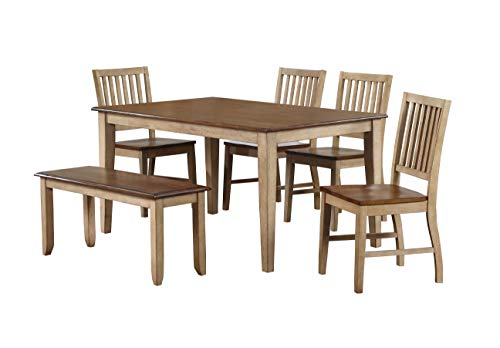 Sunset Trading Brook Dining Table Set, Distressed Two Tone Light Creamy Wheat with Warm Pecan Brown
