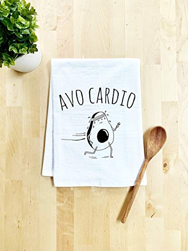 Funny Dish Towel, AvoCardio, Avocado Pun, Flour Sack Kitchen Towel, Sweet Housewarming Gift, Farmhouse Kitchen Decor, White