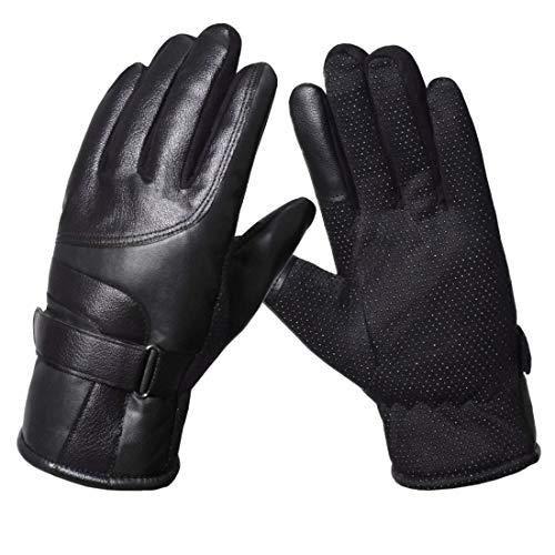 KXF 皮手袋 バイク グローブ スマホ対応 メンズ 冬用 裏起毛 保温 人工皮革手袋 全指 防風 防寒 防水 てぶくろ スリップ防止 厚手
