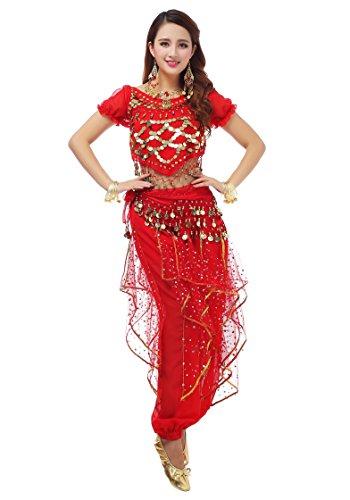 MBW Belly Dance Bauchtanz Kostüm Damen Komplett Set 6 tlg rot Hüfttuch 128 goldfarbenen Münzen, 34 -38, Rot