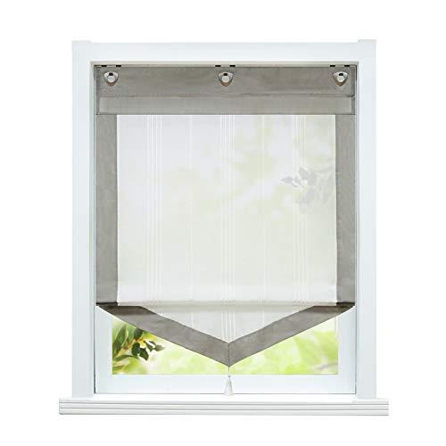 ESLIR Raffrollo ohne Bohren Gardinen Küche Landhaus Raffgardinen mit Ösen Transparent Ösenrollo Vorhang Leinen Braun BxH 60x140cm 1 Stück