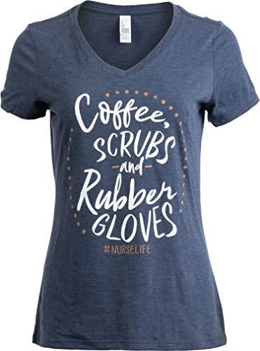 Coffee, Scrubs, Rubber Gloves | Funny Doctor Nurse Cute V-Neck T-Shirt for Women-(Vneck,M)