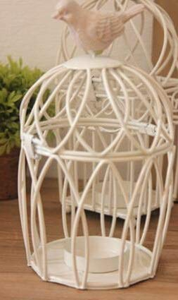 SMXGF European Style White Iron Birdcage Candle Holder Resin Bird Vintage kaarshouder Kandelaar Iron Crafts Home Decoration (Color : Round)