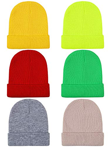 Cooraby 6 Pack Kid's Winter Beanies Knitted Warm Cold Weather Beanie Hats Boys Girls Caps (Mixed Color a, 6)