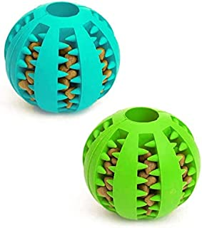 Dog Toy Ball, Nontoxic Bite Resistant Toy Ball for Pet Dogs Puppy Cat, Dog Pet Food Treat Feeder Chew Tooth Cleaning Ball ...